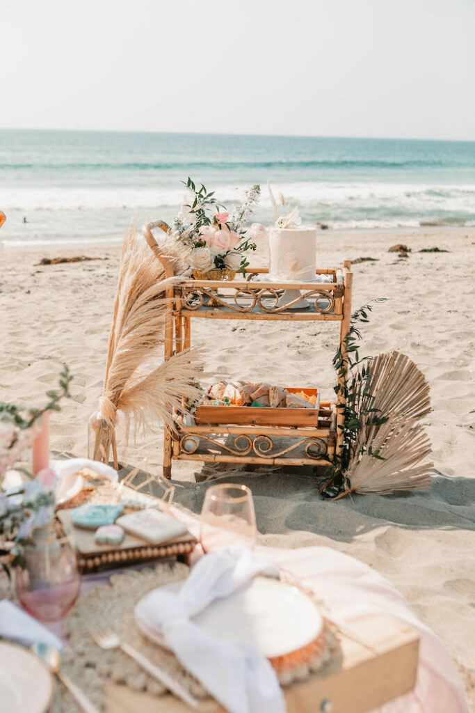 """Boho Cake + Snack Cart from a """"Thanks for the Awesome Genes"""" Seaside Mother's Day Picnic on Kara's Party Ideas 