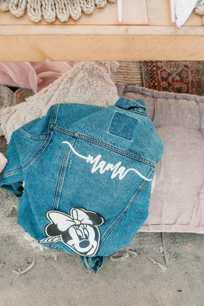 """Personalized Minnie Mouse Jean Jacket Place Setting from a """"Thanks for the Awesome Genes"""" Seaside Mother's Day Picnic on Kara's Party Ideas 