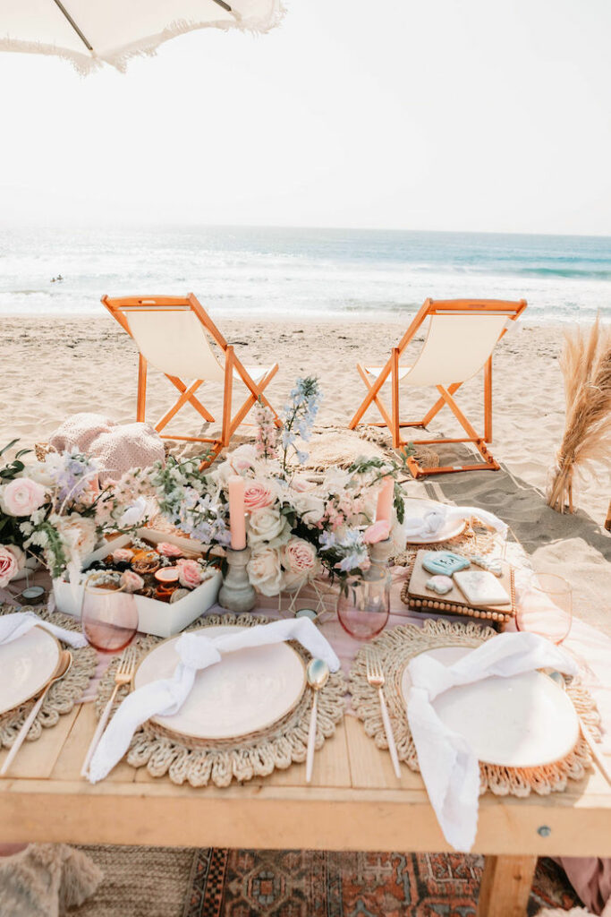 """Seaside Guest Table from a """"Thanks for the Awesome Genes"""" Seaside Mother's Day Picnic on Kara's Party Ideas 