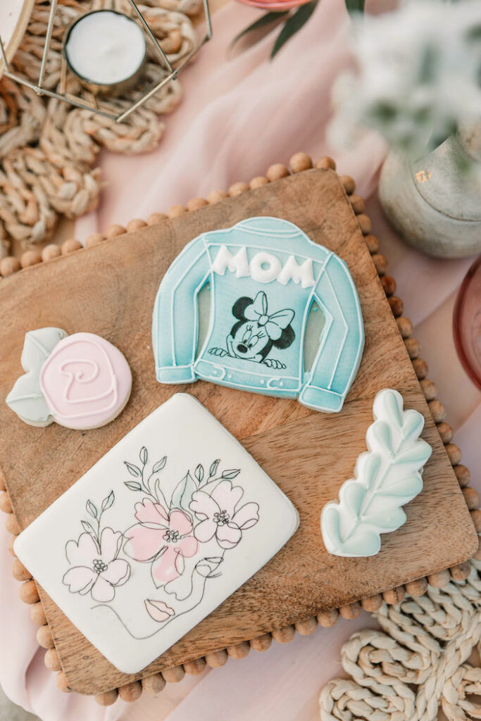 """Jean Jacket + Floral Cookies from a """"Thanks for the Awesome Genes"""" Seaside Mother's Day Picnic on Kara's Party Ideas 