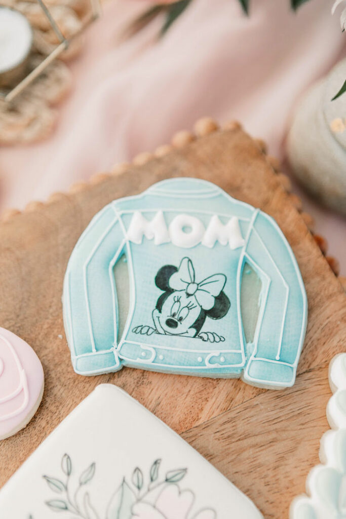 """Jean Jacket Minnie Mouse Cookie from a """"Thanks for the Awesome Genes"""" Seaside Mother's Day Picnic on Kara's Party Ideas 