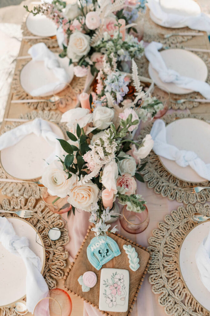 """Boho Picnic Table from a """"Thanks for the Awesome Genes"""" Seaside Mother's Day Picnic on Kara's Party Ideas 