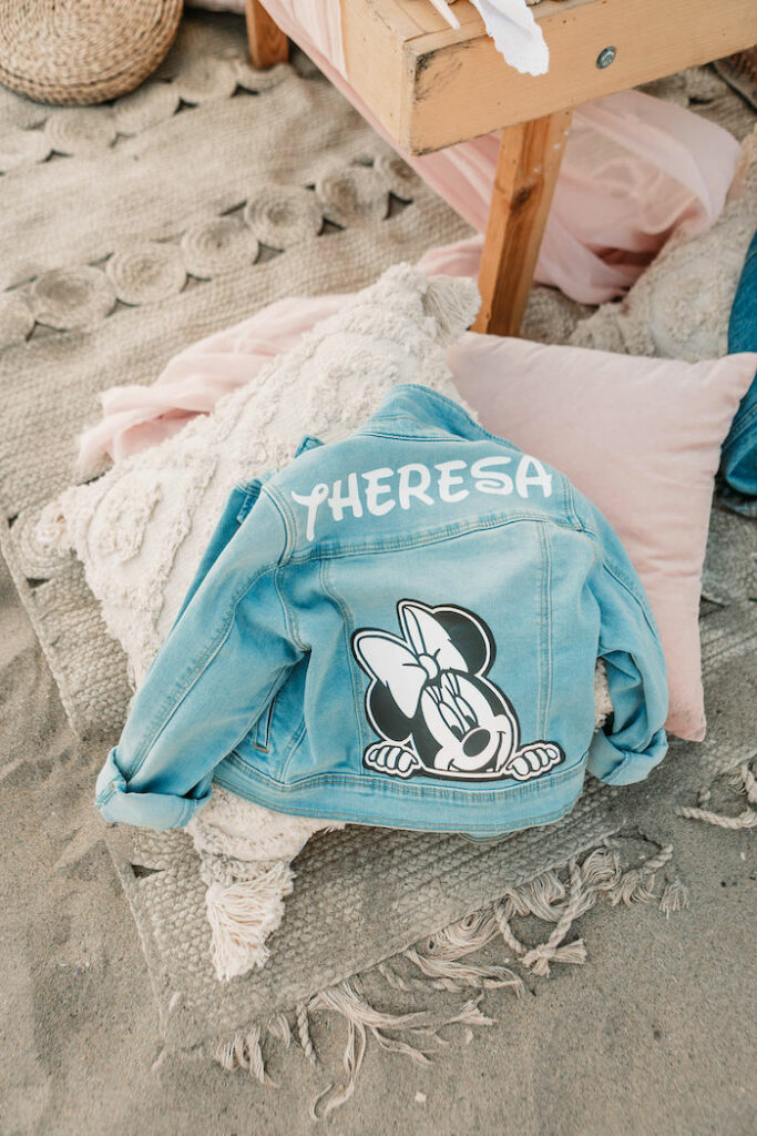"""Personalized Jean Jacket Pillow Table Setting from a """"Thanks for the Awesome Genes"""" Seaside Mother's Day Picnic on Kara's Party Ideas 