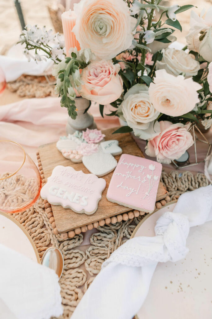 """Custom Mother's Day Cookies from a """"Thanks for the Awesome Genes"""" Seaside Mother's Day Picnic on Kara's Party Ideas 