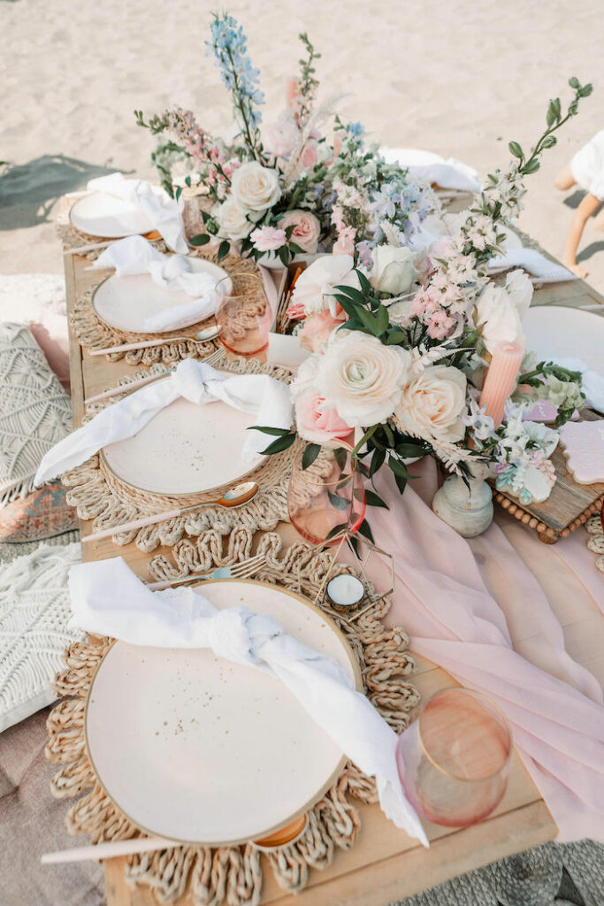 """Boho Guest Table from a """"Thanks for the Awesome Genes"""" Seaside Mother's Day Picnic on Kara's Party Ideas 