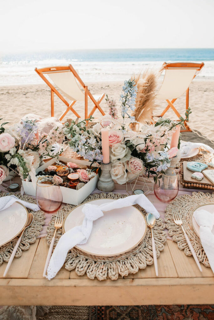 """Boho Seaside Guest Table from a """"Thanks for the Awesome Genes"""" Seaside Mother's Day Picnic on Kara's Party Ideas 