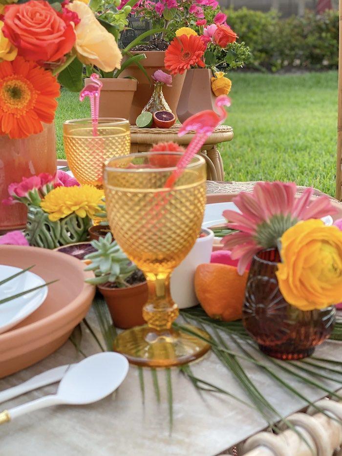Amber goblet from a Tropical Palm Springs Fiesta on Kara's Party Ideas | KarasPartyIdeas.com