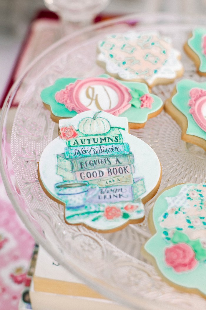 Custom Book Stack Cookie from a Book Themed Christening Party on Kara's Party Ideas | KarasPartyIdeas.com (19)