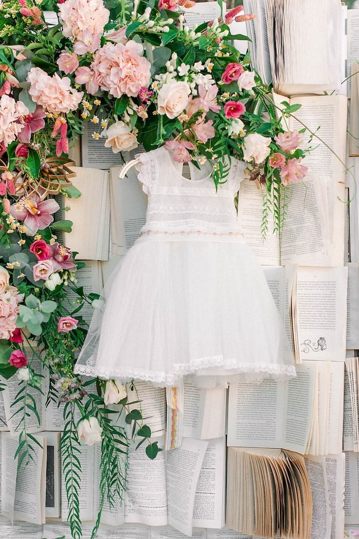 Christening Dress from a Book Themed Christening Party on Kara's Party Ideas | KarasPartyIdeas.com (29)