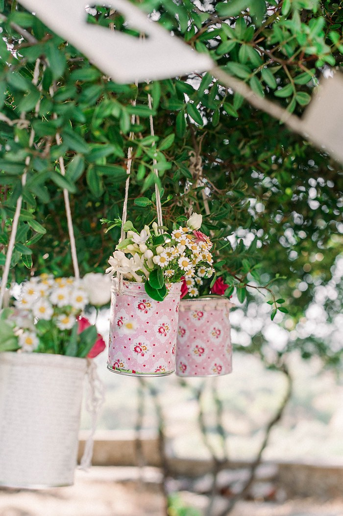 Hanging Floral Cans from a Book Themed Christening Party on Kara's Party Ideas | KarasPartyIdeas.com (27)