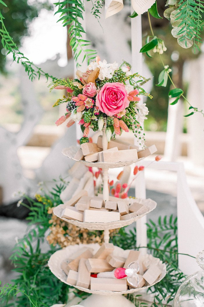 Floral-topped Pedestal from a Book Themed Christening Party on Kara's Party Ideas | KarasPartyIdeas.com (25)