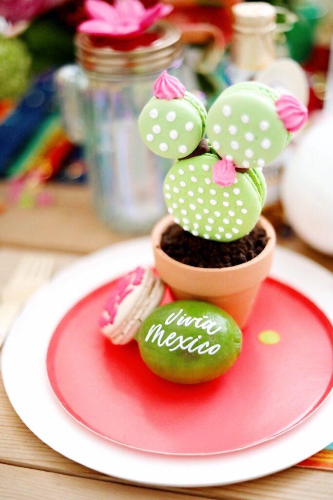 Macaron Cactus Table Setting from a Colorful Cinco de Mayo Fiesta on Kara's Party Ideas   KarasPartyIdeas.com