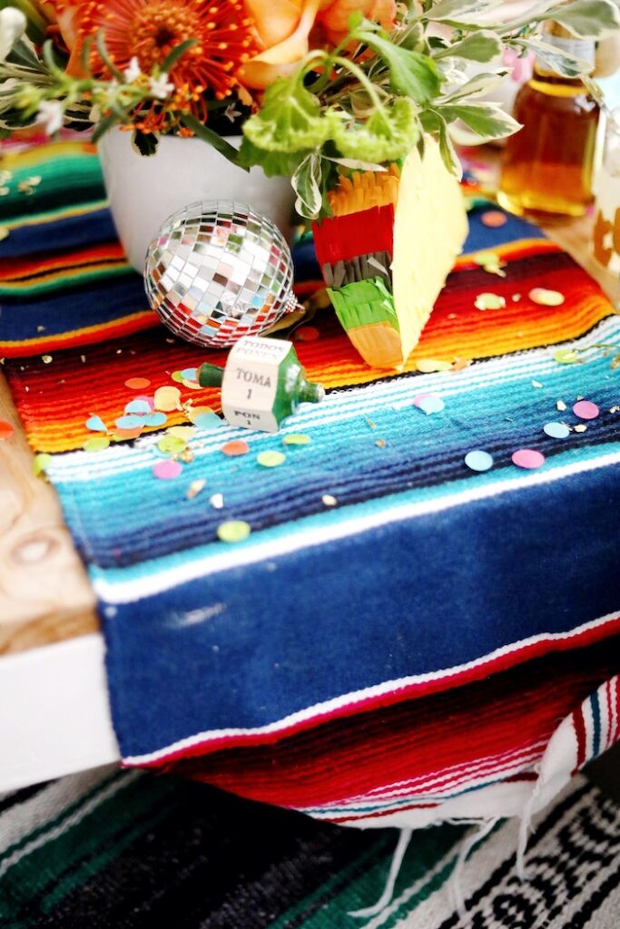 Serape Table Runner from a Colorful Cinco de Mayo Fiesta on Kara's Party Ideas   KarasPartyIdeas.com