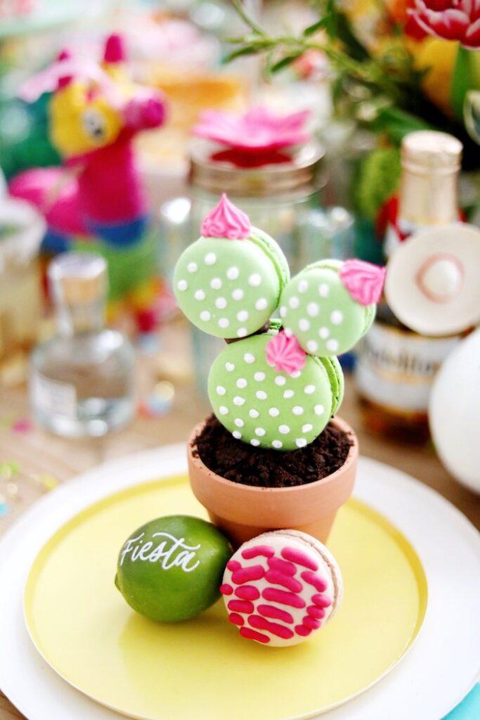 Macaron Cactus & Lime Place Setting from a Colorful Cinco de Mayo Fiesta on Kara's Party Ideas   KarasPartyIdeas.com