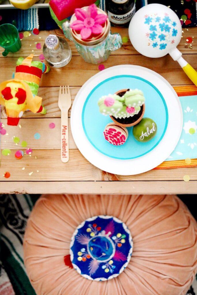 Fiesta Table Setting from a Colorful Cinco de Mayo Fiesta on Kara's Party Ideas   KarasPartyIdeas.com