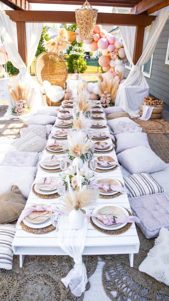 Boho Guest Table from an Elegant Bohemian Birthday Party on Kara's Party Ideas   KarasPartyIdeas.com