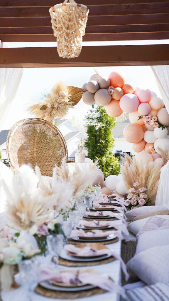 Boho Balloon Arch + Guest Table from a Elegant Bohemian Birthday Party on Kara's Party Ideas   KarasPartyIdeas.com