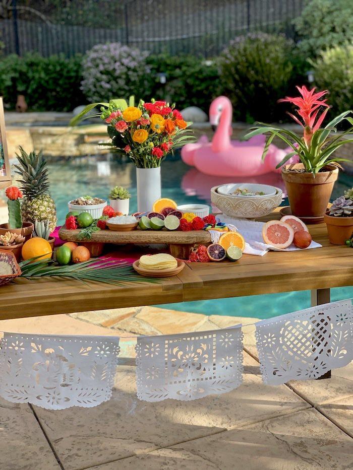 Tropical Food Table + Taco Bar from a Tropical Palm Springs Fiesta on Kara's Party Ideas | KarasPartyIdeas.com