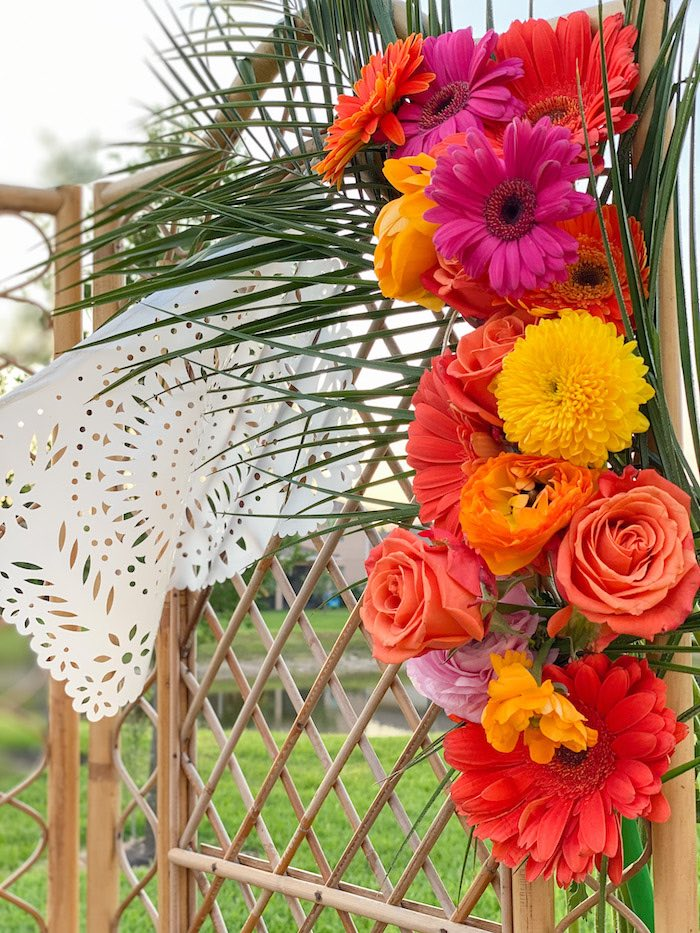 Tropical Florals on a Bamboo Screen from a Tropical Palm Springs Fiesta on Kara's Party Ideas | KarasPartyIdeas.com