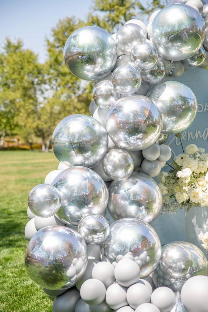 Silver Inflatables + Balloon Install from a Frozen Arendelle Inspired Birthday Party via Kara's Party Ideas | KarasPartyIdeas.com