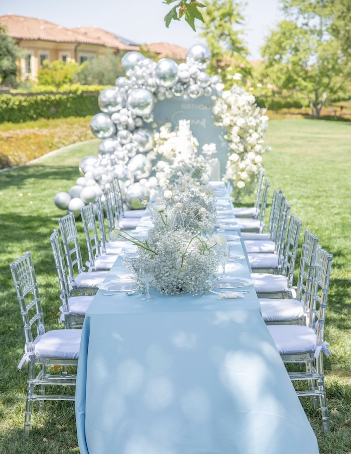 Elegant Blue + White Guest Table from a Frozen Arendelle Inspired Birthday Party via Kara's Party Ideas | KarasPartyIdeas.com