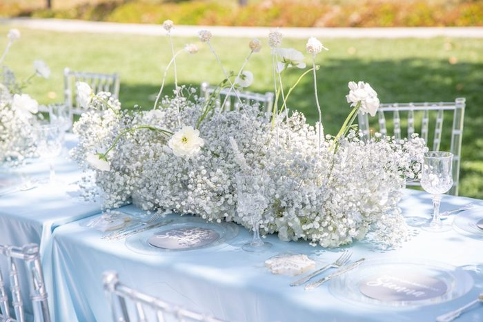 White Floral Table Centerpiece from a Frozen Arendelle Inspired Birthday Party via Kara's Party Ideas | KarasPartyIdeas.com