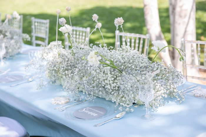 Blue + White Guest Table from a Frozen Arendelle Inspired Birthday Party via Kara's Party Ideas | KarasPartyIdeas.com