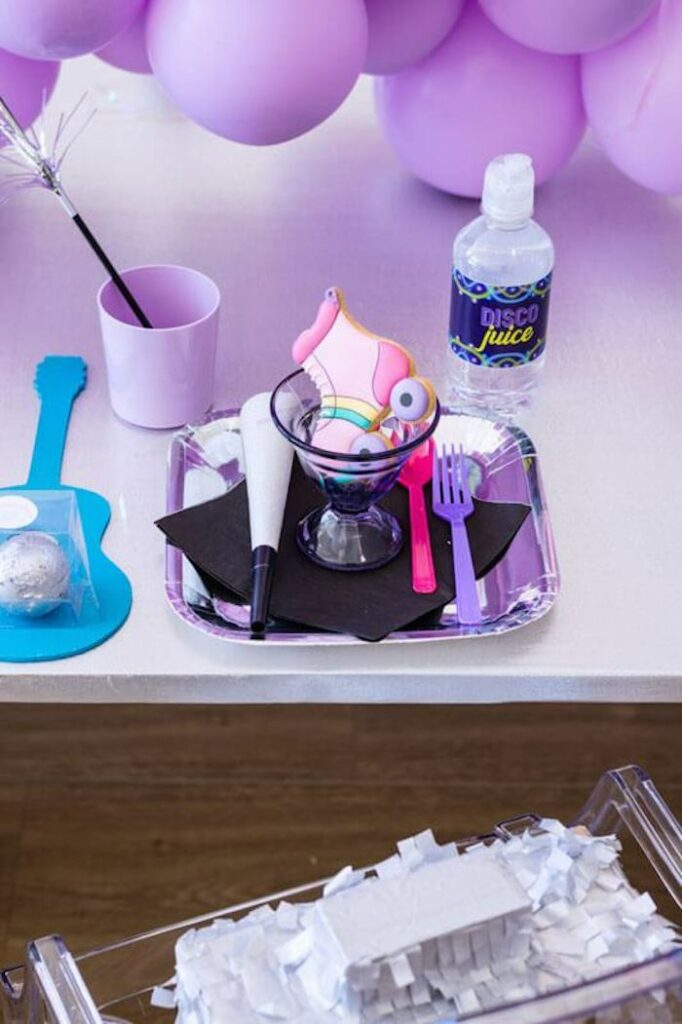Groovy Disco Table Setting from a Groovy Disco Birthday Party on Kara's Party Ideas | KarasPartyIdeas.com