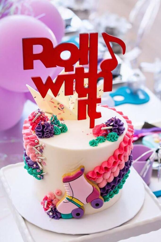 Roll with it- Roller Skate-inspired Cake from a Groovy Disco Birthday Party on Kara's Party Ideas | KarasPartyIdeas.com