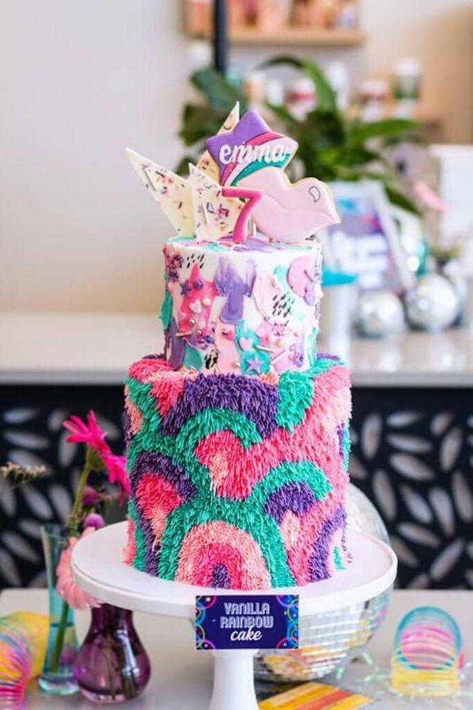 Groovy Girly Rainbow Birthday Cake from a Groovy Disco Birthday Party on Kara's Party Ideas | KarasPartyIdeas.com