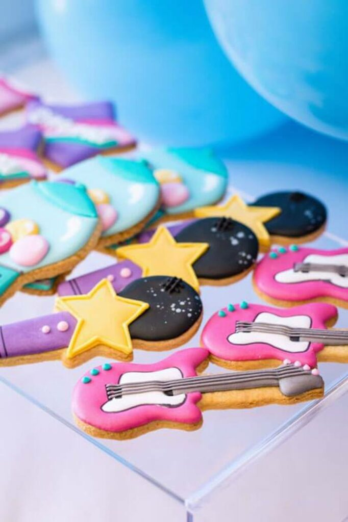 Rock Star Cookies from a Groovy Disco Birthday Party on Kara's Party Ideas | KarasPartyIdeas.com