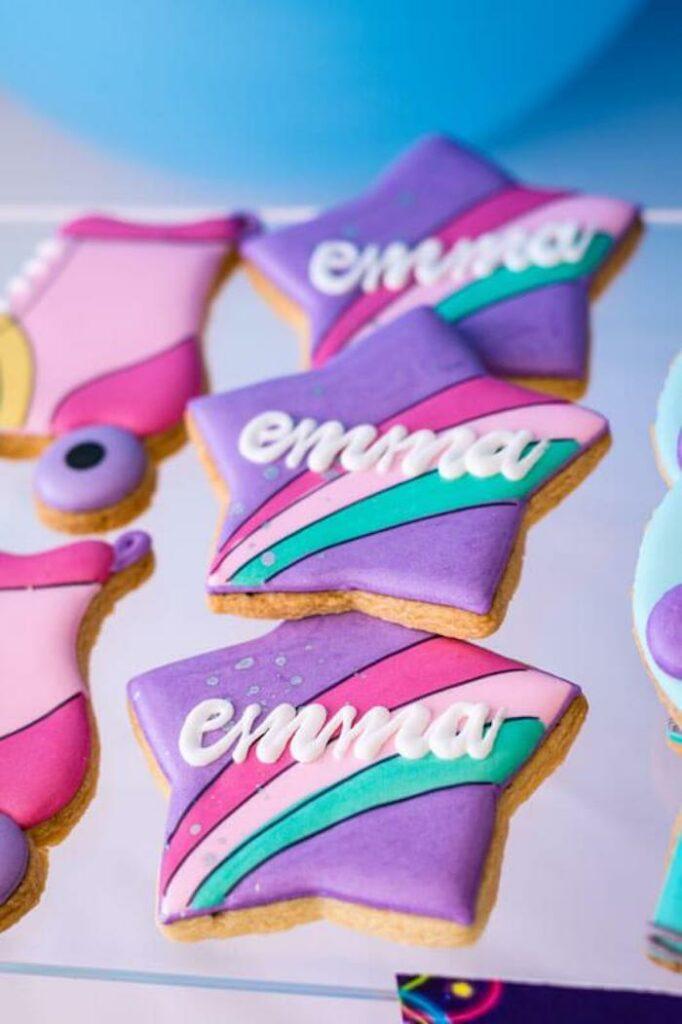 Custom Rainbow Star Cookies from a Groovy Disco Birthday Party on Kara's Party Ideas | KarasPartyIdeas.com