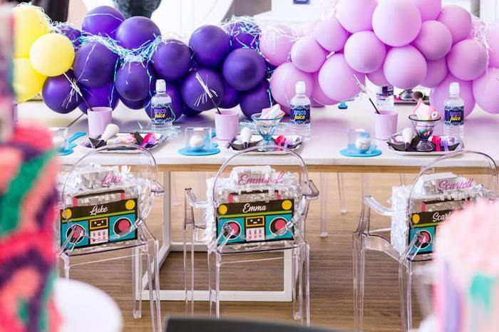 Groovy Guest Table from a Groovy Disco Birthday Party on Kara's Party Ideas | KarasPartyIdeas.com