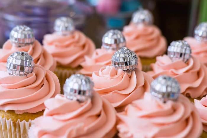 Disco Ball Cupcakes from aGroovy Disco Birthday Party on Kara's Party Ideas | KarasPartyIdeas.com