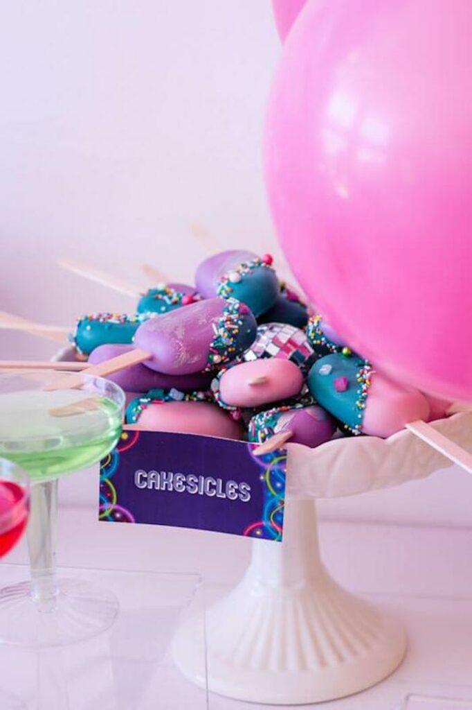 Disco Cakesicles from a Groovy Disco Birthday Party on Kara's Party Ideas | KarasPartyIdeas.com