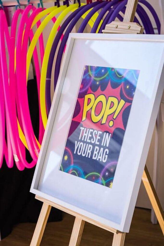 POP! - Favor Table Signage from a Groovy Disco Birthday Party on Kara's Party Ideas | KarasPartyIdeas.com