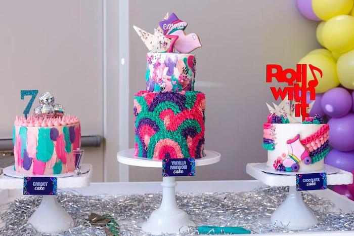 Groovy Birthday Cakes from a Groovy Disco Birthday Party on Kara's Party Ideas | KarasPartyIdeas.com