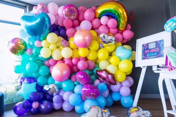 Groovy Balloon Wall Photo Backdrop from aGroovy Disco Birthday Party on Kara's Party Ideas | KarasPartyIdeas.com