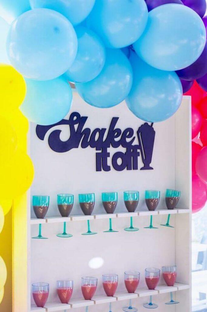 Shake it off - Shake Wall Shelf from a Groovy Disco Birthday Party on Kara's Party Ideas | KarasPartyIdeas.com