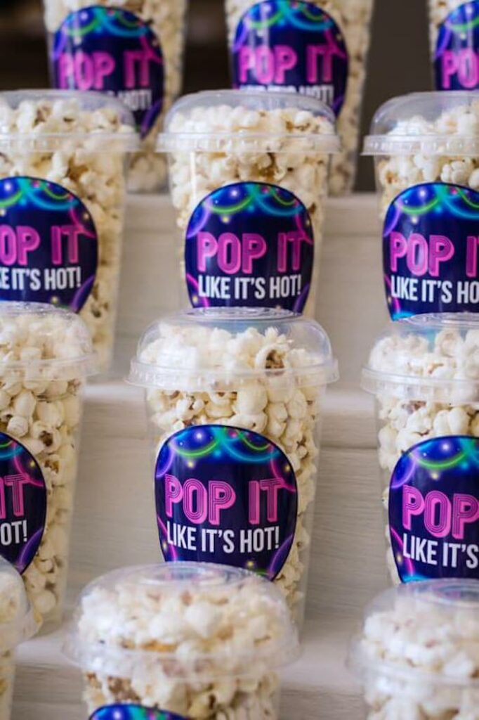 Pop it like it's hot! - Popcorn Cups from a Groovy Disco Birthday Party on Kara's Party Ideas | KarasPartyIdeas.com