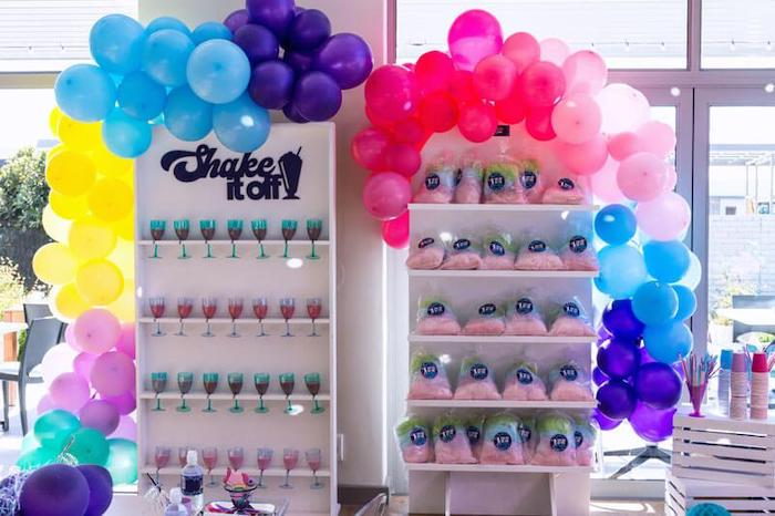 Shake it off - Shake & Cotton Candy Wall Shelves from a Groovy Disco Birthday Party on Kara's Party Ideas | KarasPartyIdeas.com