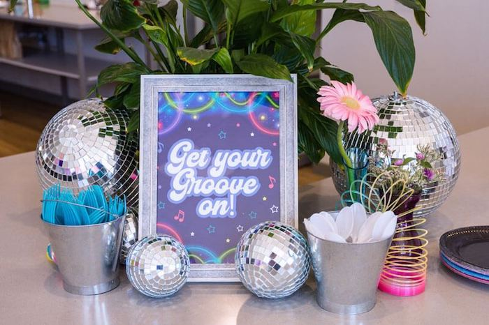 Get Your Groove on! Party Table from a Groovy Disco Birthday Party on Kara's Party Ideas | KarasPartyIdeas.com