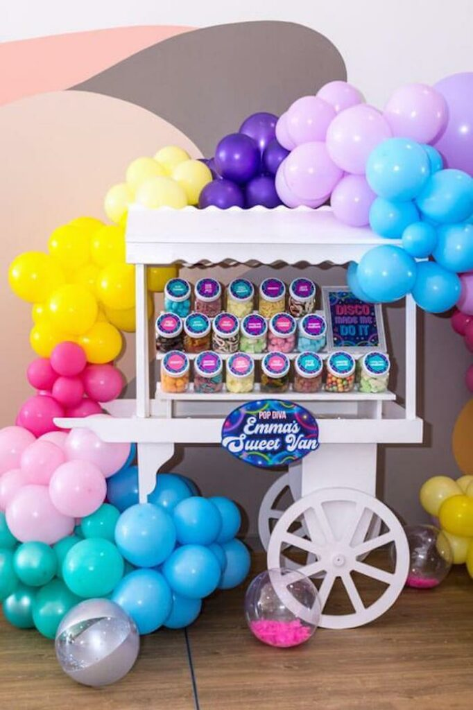 Colorful Candy Buffet Cart from a Groovy Disco Birthday Party on Kara's Party Ideas | KarasPartyIdeas.com