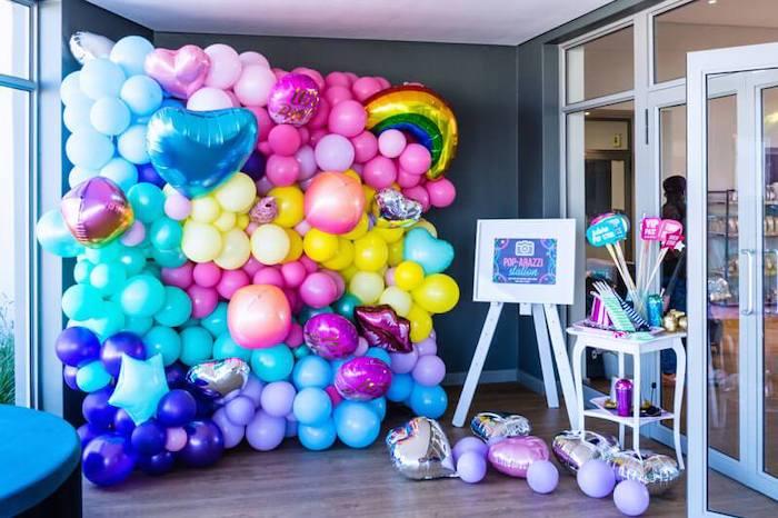 Groovy Balloon Wall Photo Backdrop from a Groovy Disco Birthday Party on Kara's Party Ideas | KarasPartyIdeas.com
