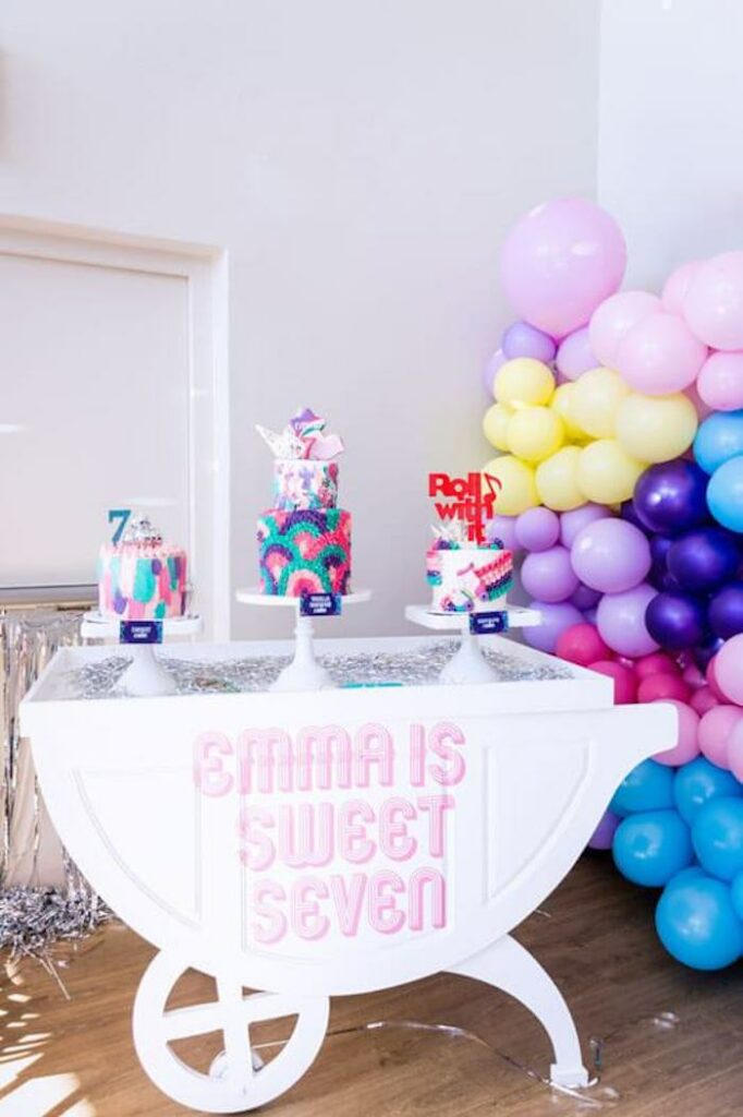 Groovy Cake Table from a Groovy Disco Birthday Party on Kara's Party Ideas | KarasPartyIdeas.com