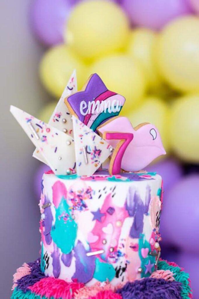 Groovy Girly Rainbow Cake from a Groovy Disco Birthday Party on Kara's Party Ideas | KarasPartyIdeas.com