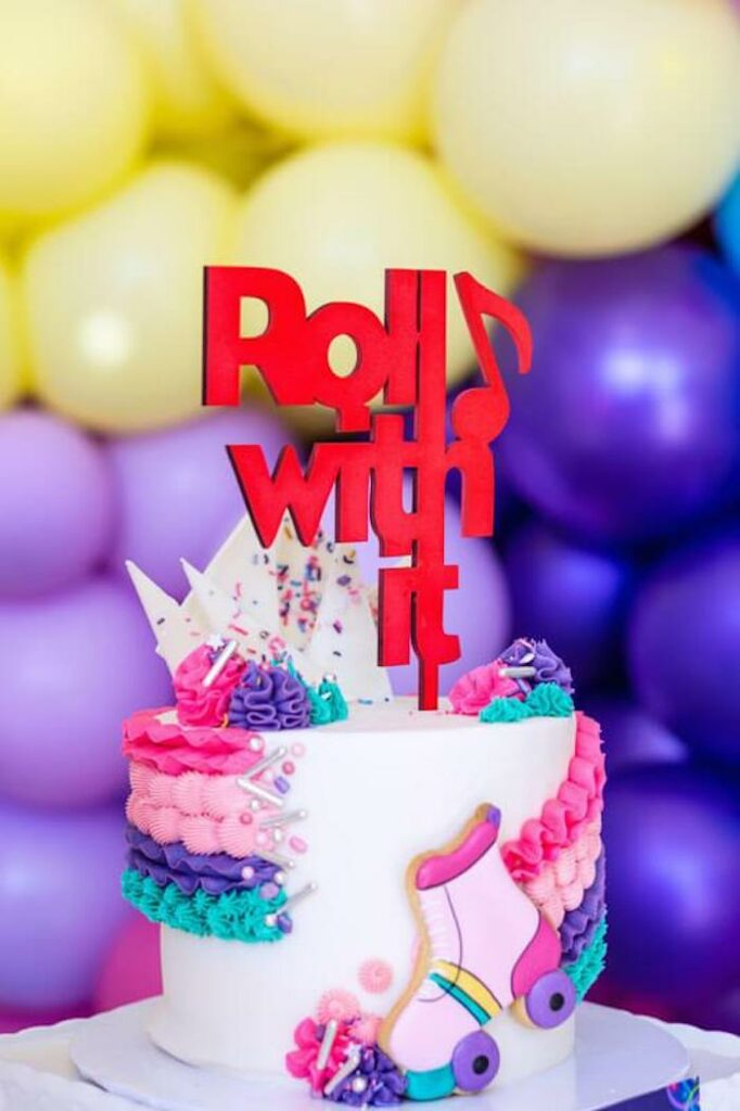 Roll with it- Roller Skate-inspired Cake from a Groovy Disco Birthday Party on Kara's Party Ideas   KarasPartyIdeas.com