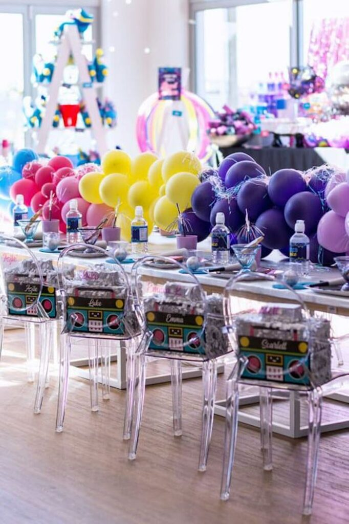 Colorful Guest Table from a Groovy Disco Birthday Party on Kara's Party Ideas | KarasPartyIdeas.com