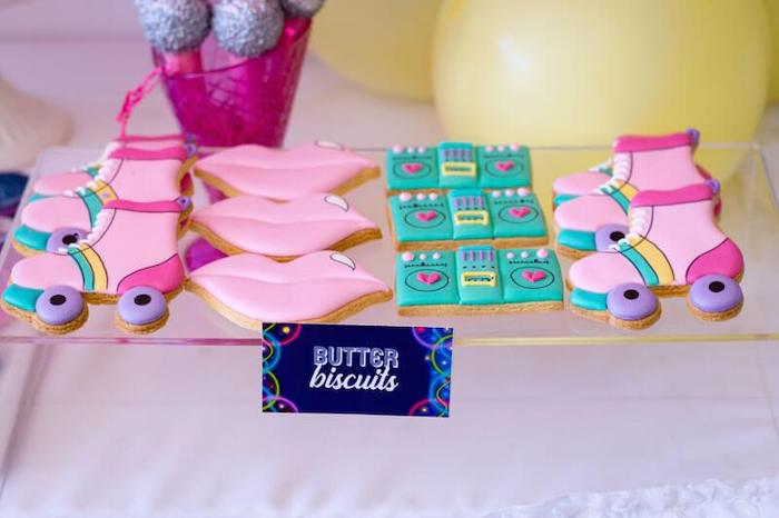 Roller Skate + Lip + Boom Box Butter Biscuits from a Groovy Disco Birthday Party on Kara's Party Ideas | KarasPartyIdeas.com