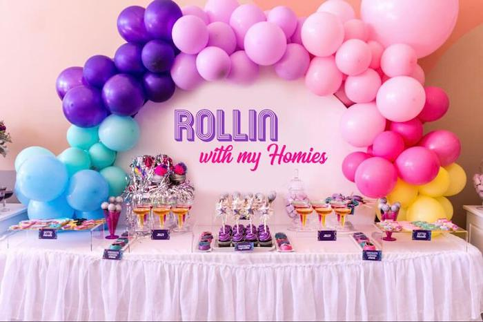 Roller skate-inspired Dessert Table from a Groovy Disco Birthday Party on Kara's Party Ideas | KarasPartyIdeas.com